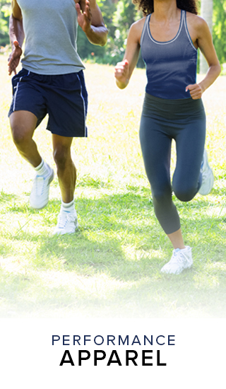 Picture of a man and woman running. Click to shop Performance Apparel.